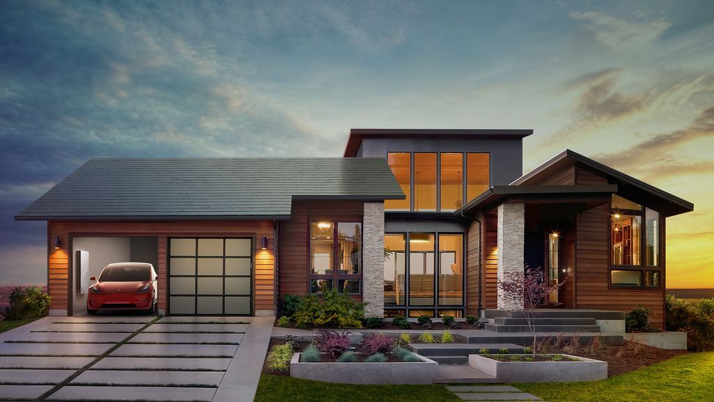 Tesla Unveils Residential Solar Roof With Updated Battery Storage System Solar Roof Shingles Tesla Solar Roof Solar Tiles