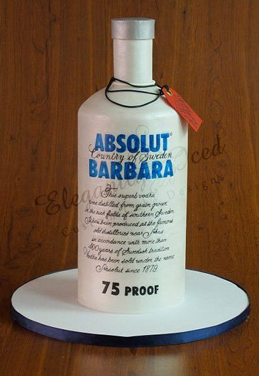 Awe Inspiring Absolut Vodka Cake With Images Bottle Cake Alcohol Cake Birthday Cards Printable Trancafe Filternl