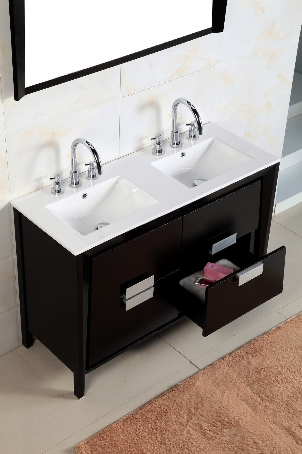 Water Proof Wood Finish Protects Against Bathroom Humidity Compact Size With Dual Sinks For Small S