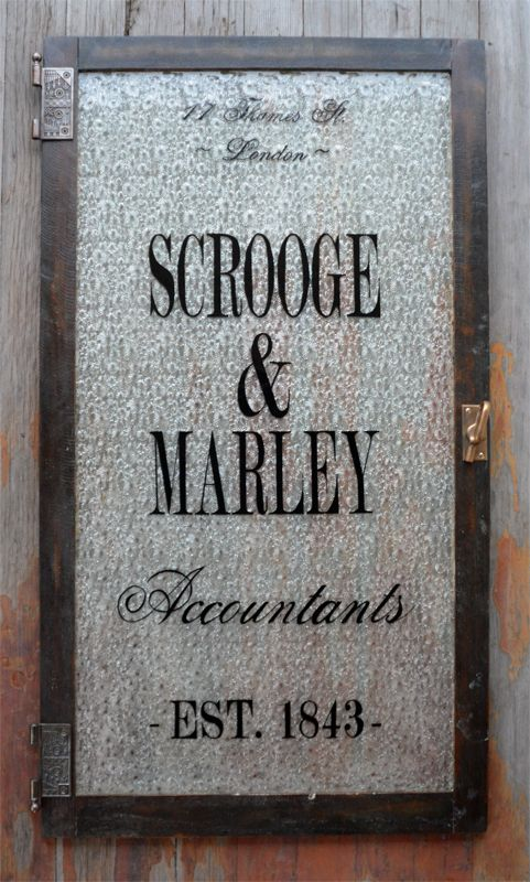 Scrooge & Marley holiday window - large 25x44 - words can't even describe how much I love this ...