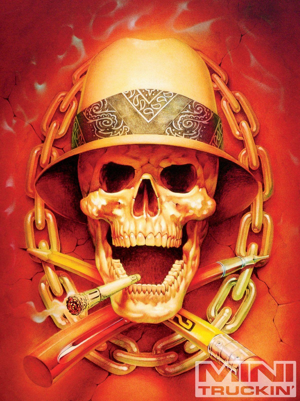 8th Annual Coast Airbrush Kustom Kulture Show Skull Graphic Art