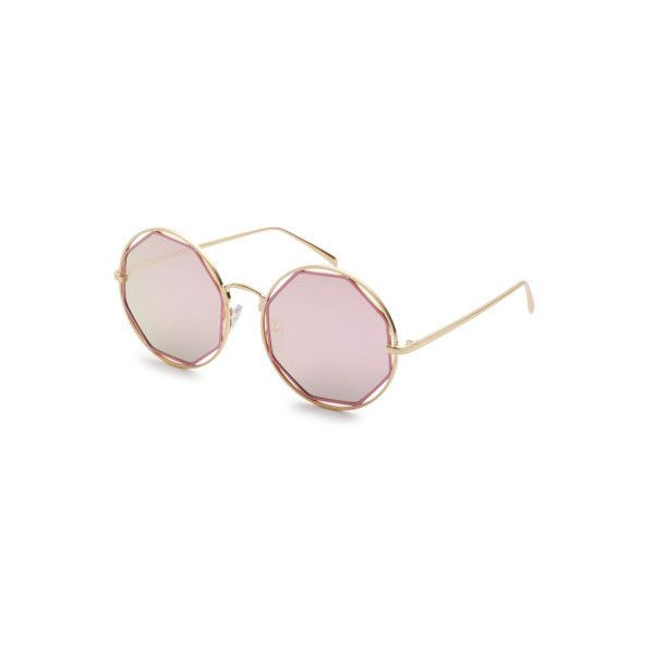 f4a3e87dc5 SheIn(sheinside) Gold Frame Pink Lens Hollow Out Sunglasses RON) ❤ liked on Polyvore  featuring accessories