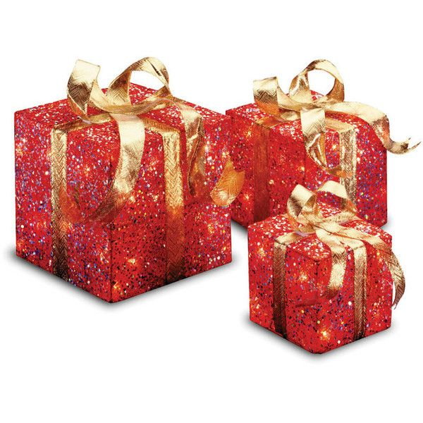 National Tree Co. Gift Boxes Christmas Decoration (Set of 3) (49 CAD) ❤ liked on Polyvore featuring home, home decor, holiday decorations, christmas, backgrounds, filler, holiday, christmas holiday decor, christmas home decor and holiday decor