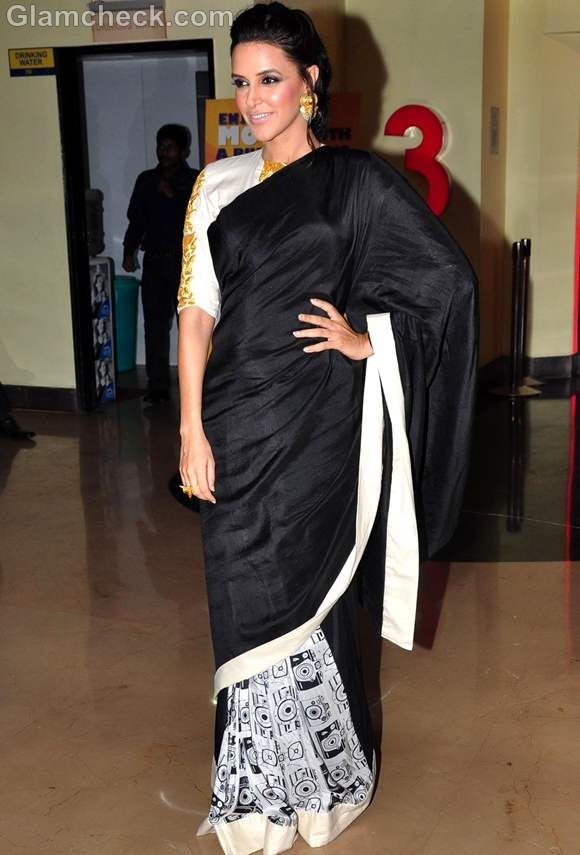 Neha Dhupia in black saree