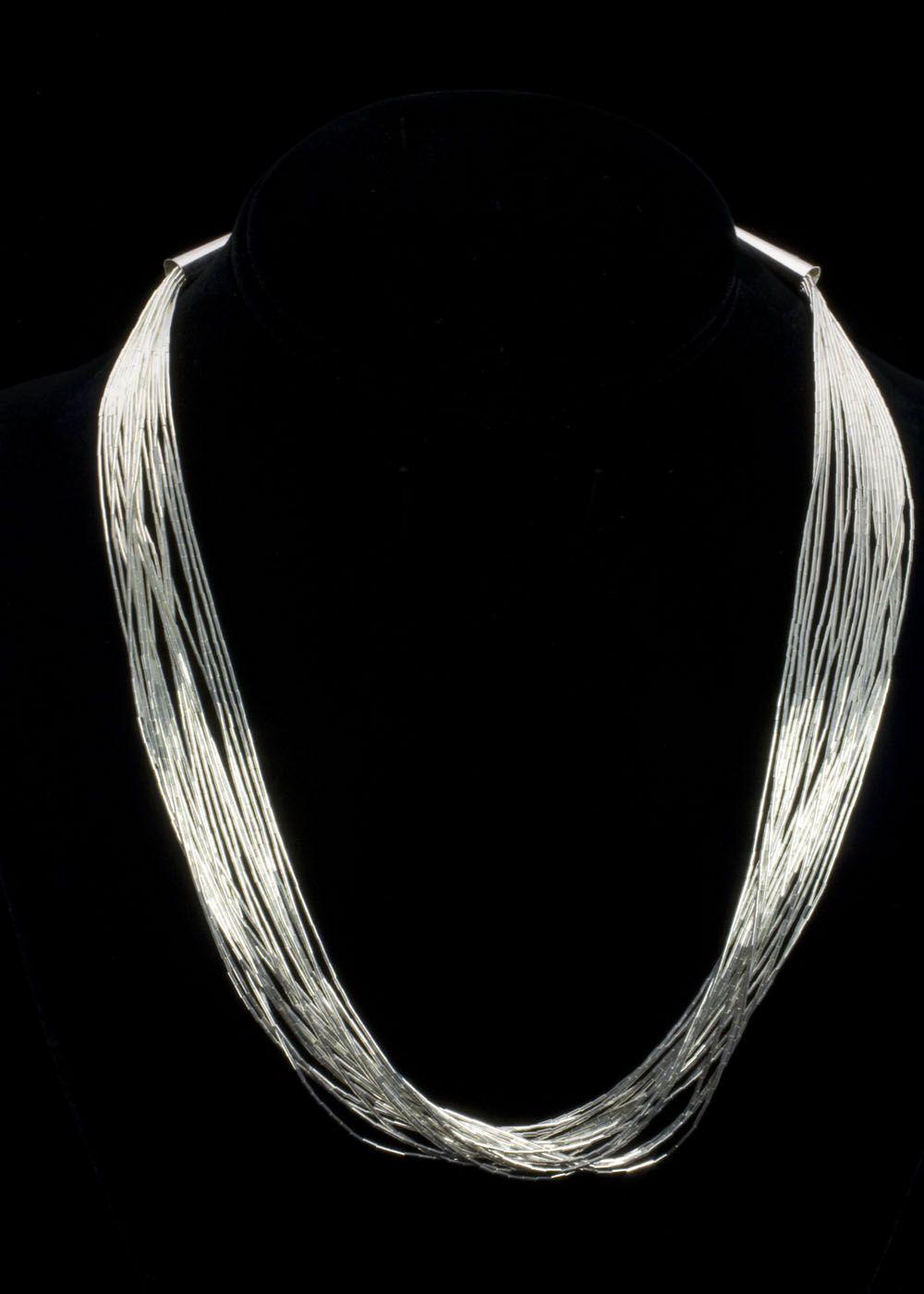 Liquid Silver Eighteen Necklace Liquid sterling silver twenty strand  necklace, 18