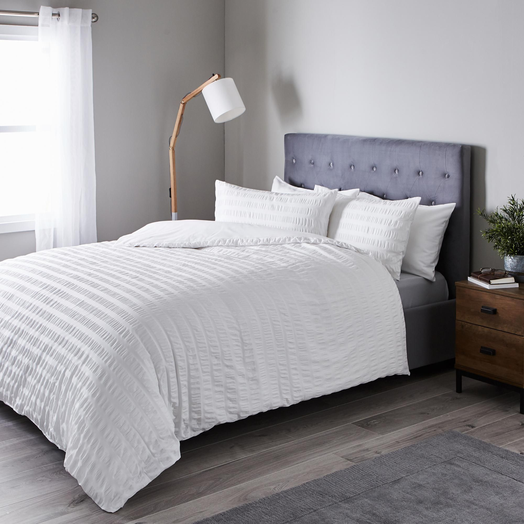 Seersucker White Ruched Duvet Cover And Pillowcase Set With