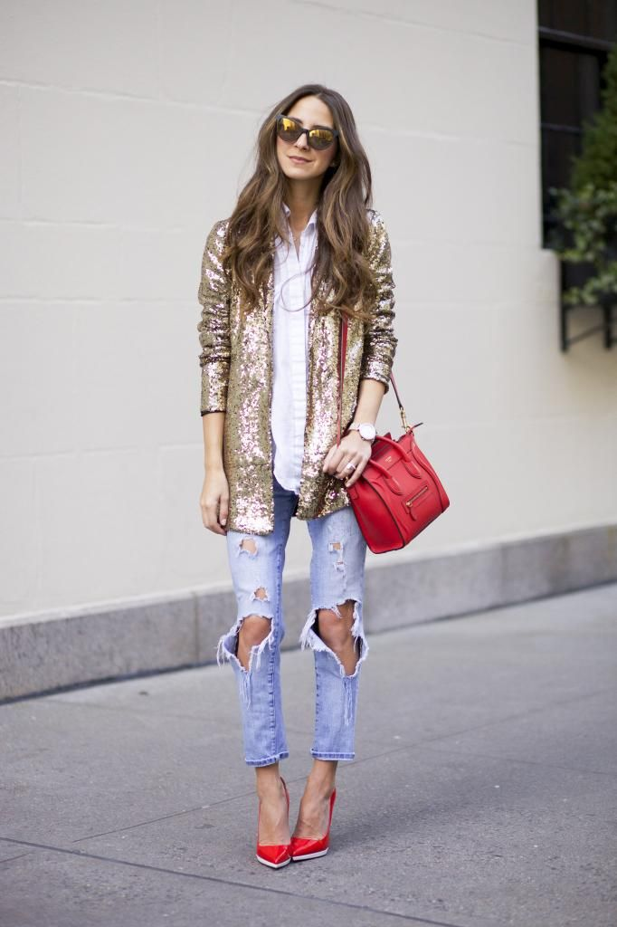 f9638399965 Arielle of Something Navy turning ripped denim into Holiday fashion with a  sequin blazer