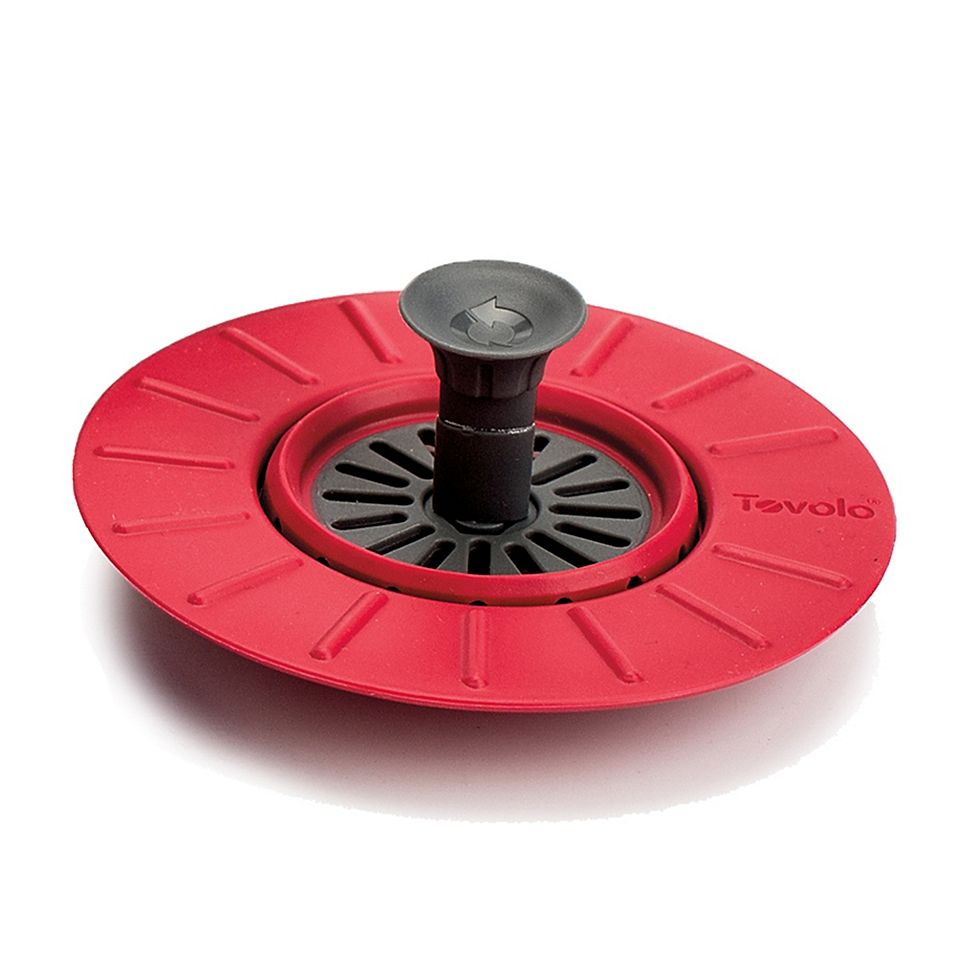 Tovolo Collapsible Stopper Amp Strainer In Red Red Grey Cool Bars Sink Strainer Stainless