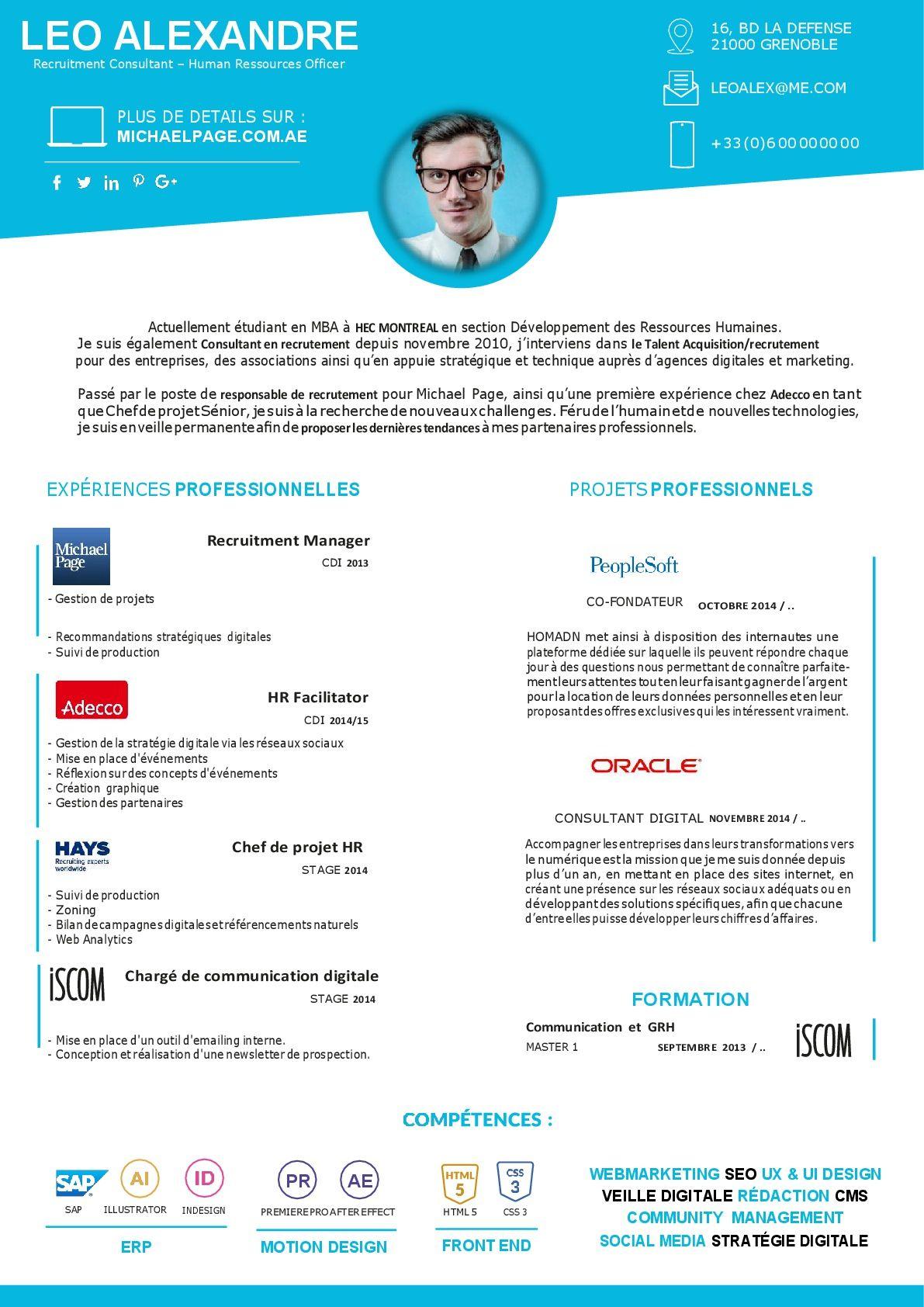 ce cv consultant recrutement a t ralis avec le plus grand soin pour un impact visuel - Resume Consultant