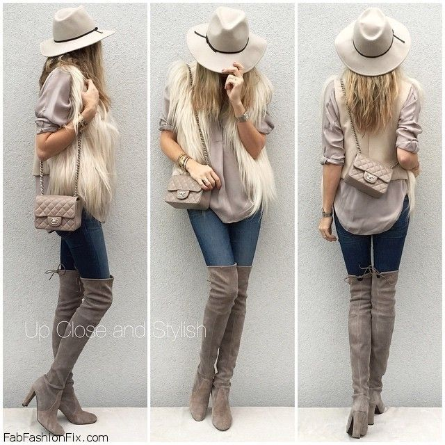Faux fur vest, skinny jeans, over-the-knee suede boots and Chanel ...