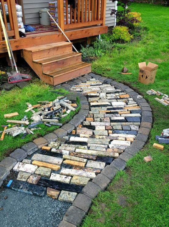 Diy walkway made from recycled granite countertops diy for Diy pathway ideas