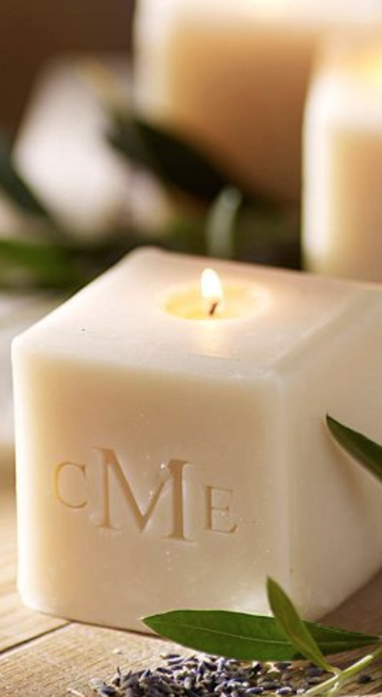 Pretty monogrammed candle