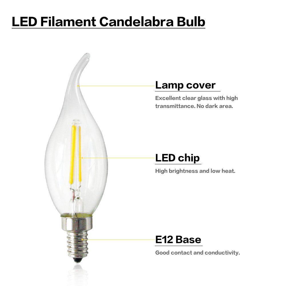 Led Candelabra Bulb Dimmable Flame Tip Clear Filament Led 4w Candle Light Bulb For Homekitchendining Roombedrooml In 2020 Candelabra Bulbs Light Bulb Candle Light Bulb