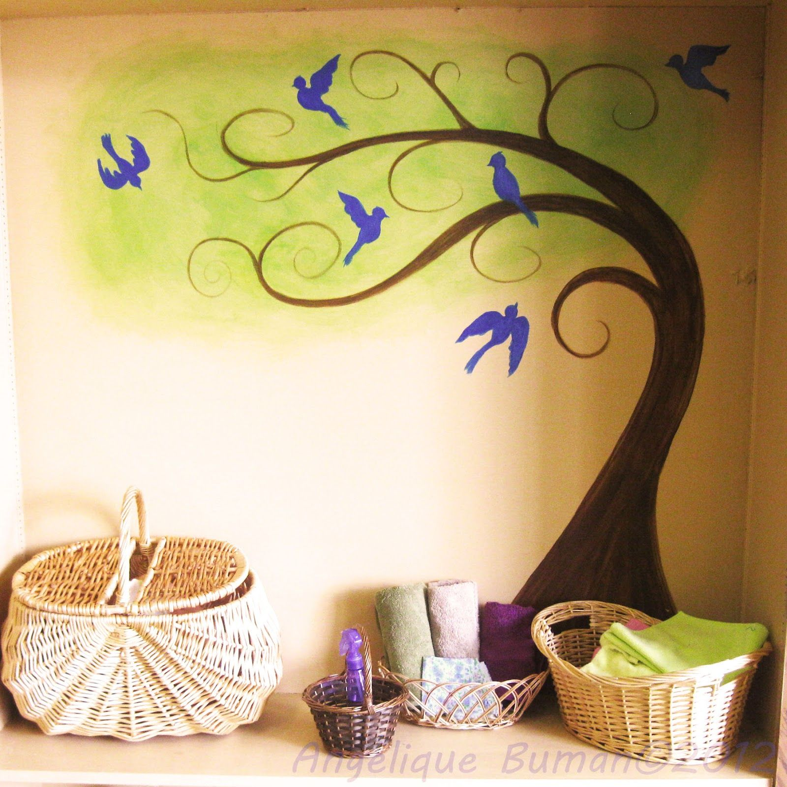 painting birds on a wall | ... Calm Wall Painting And Wooden ...