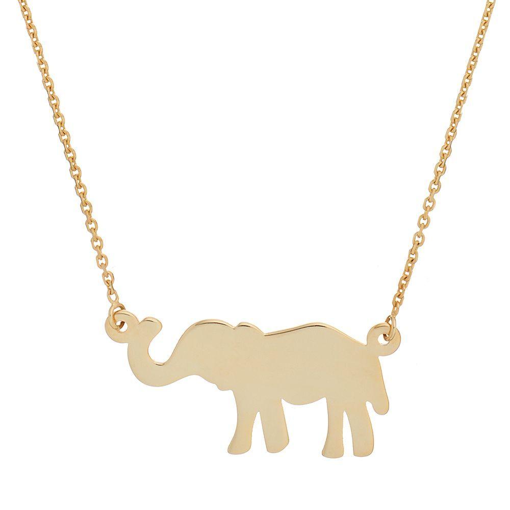 14k Gold Elephant Necklace Elephant Necklace Gold Gold Elephant Elephant Necklace