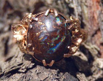 Antique Arts and Crafts Solid Boulder Black Opal Ring with Floral Details 9k Rose Gold Art Nouveau 1900