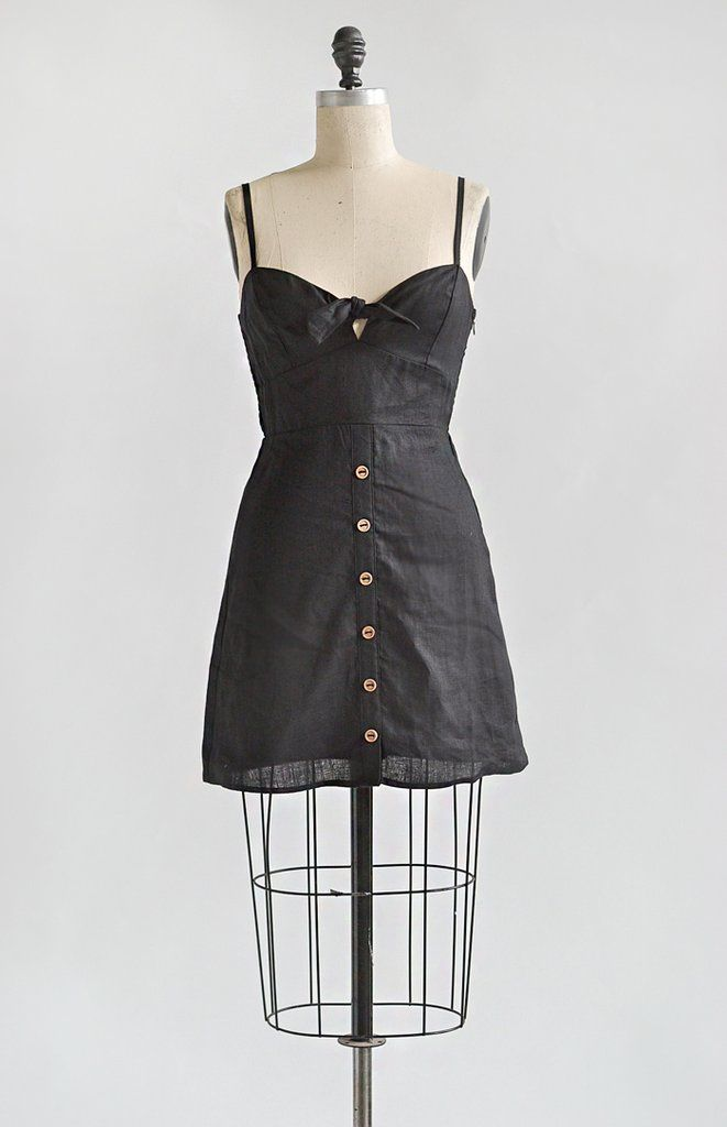 80f5af63dc French Girl Vintage Style Linen Mini Sundress   Café Noir Dress