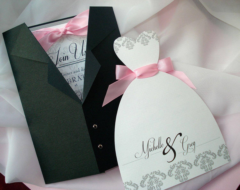 All Dressed Up Wedding Invitation Set Tuxedo Wedding Dress Etsy Damask Wedding Invitation Wedding Gown Card Wedding Dress Invitations