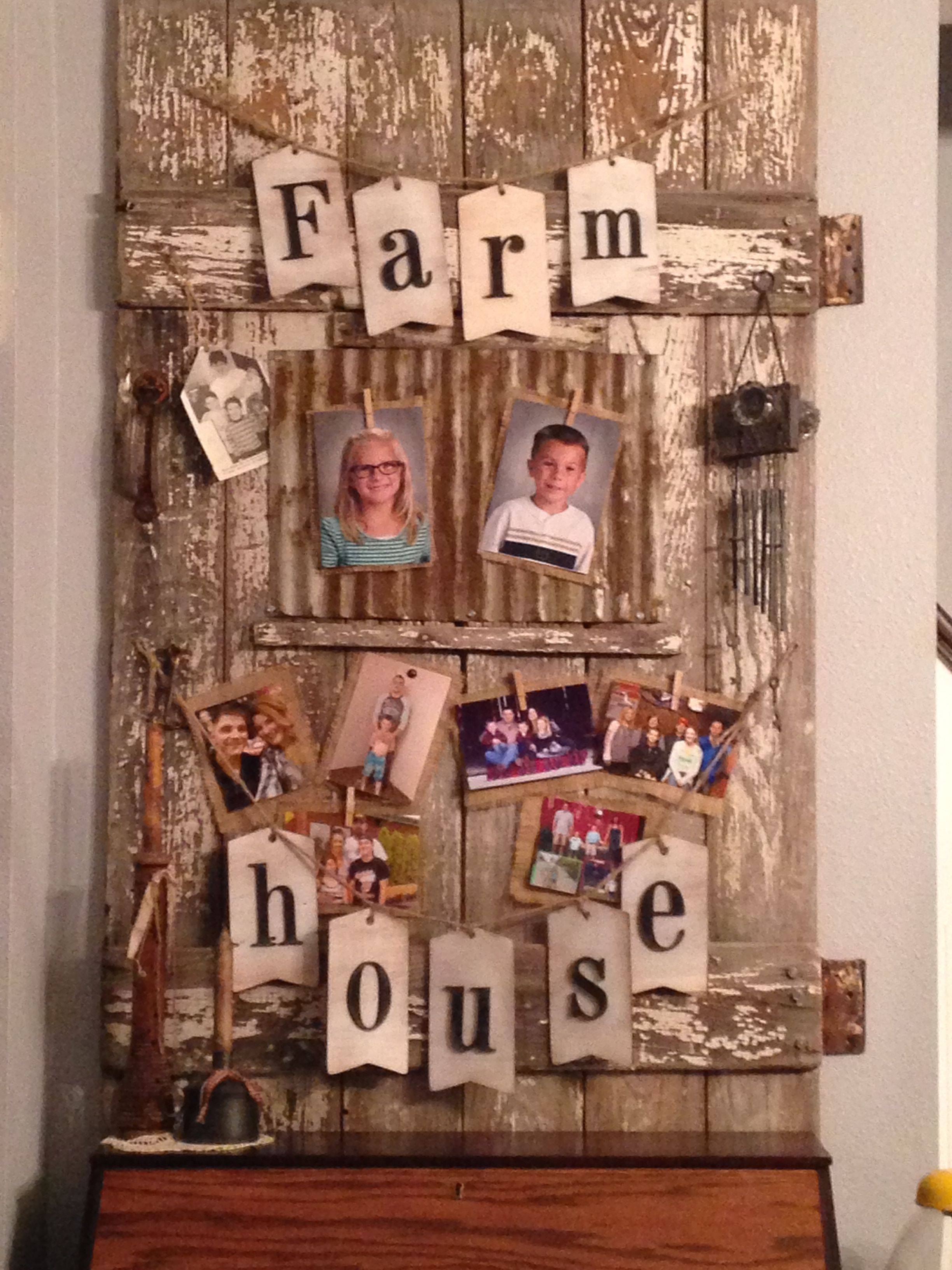 Barn door bulletin board for anything from pictures to a memory
