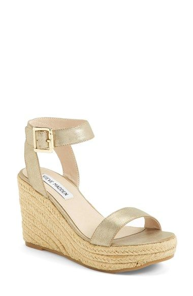 b35ba09e97adcf Free shipping and returns on Steve Madden  Seaside  Wedge Sandal (Women) at  Nordstrom.com. A gleaming gilt buckle puts the polish on a breezy  espadrille ...