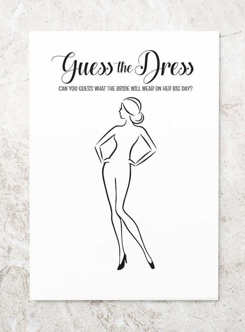 Guess The Dress Printable Bridal Shower Games Bridal Shower Etsy In 2021 Printable Bridal Shower Games Etsy Bridal Shower Bridal Shower Games