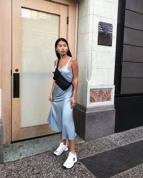Such A Cool Outfit Idea With The Light Blue Slip Dress Cant Wait To Try This Look With Our Sky Blue Silk Slip Dress Fashion Cool Outfits Fashion Inspo