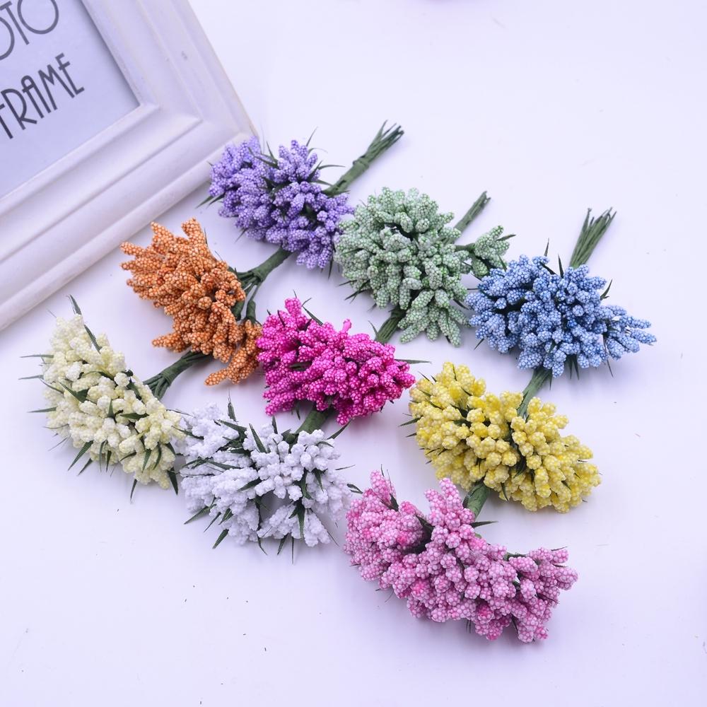 066 Watch Now 12pcs Beautiful Foam Stamens Artificial Flower