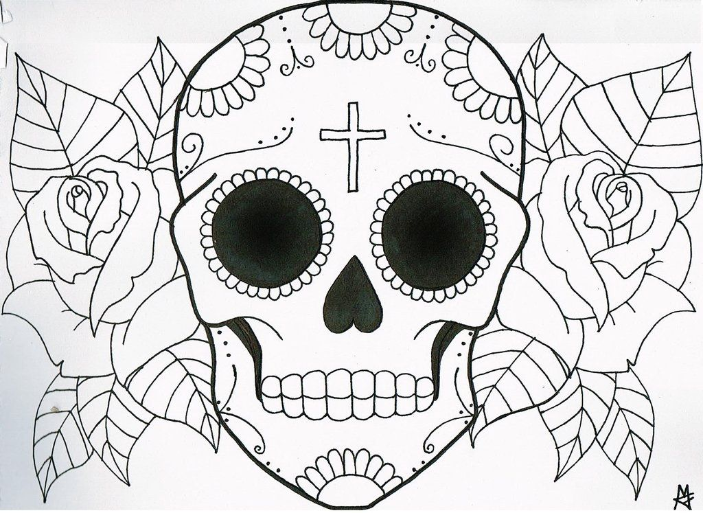 very simple sugar skull flowers coloring pages printable and coloring book to print for free find more coloring pages online for kids and adults of very - Sugar Skull Coloring Pages Print