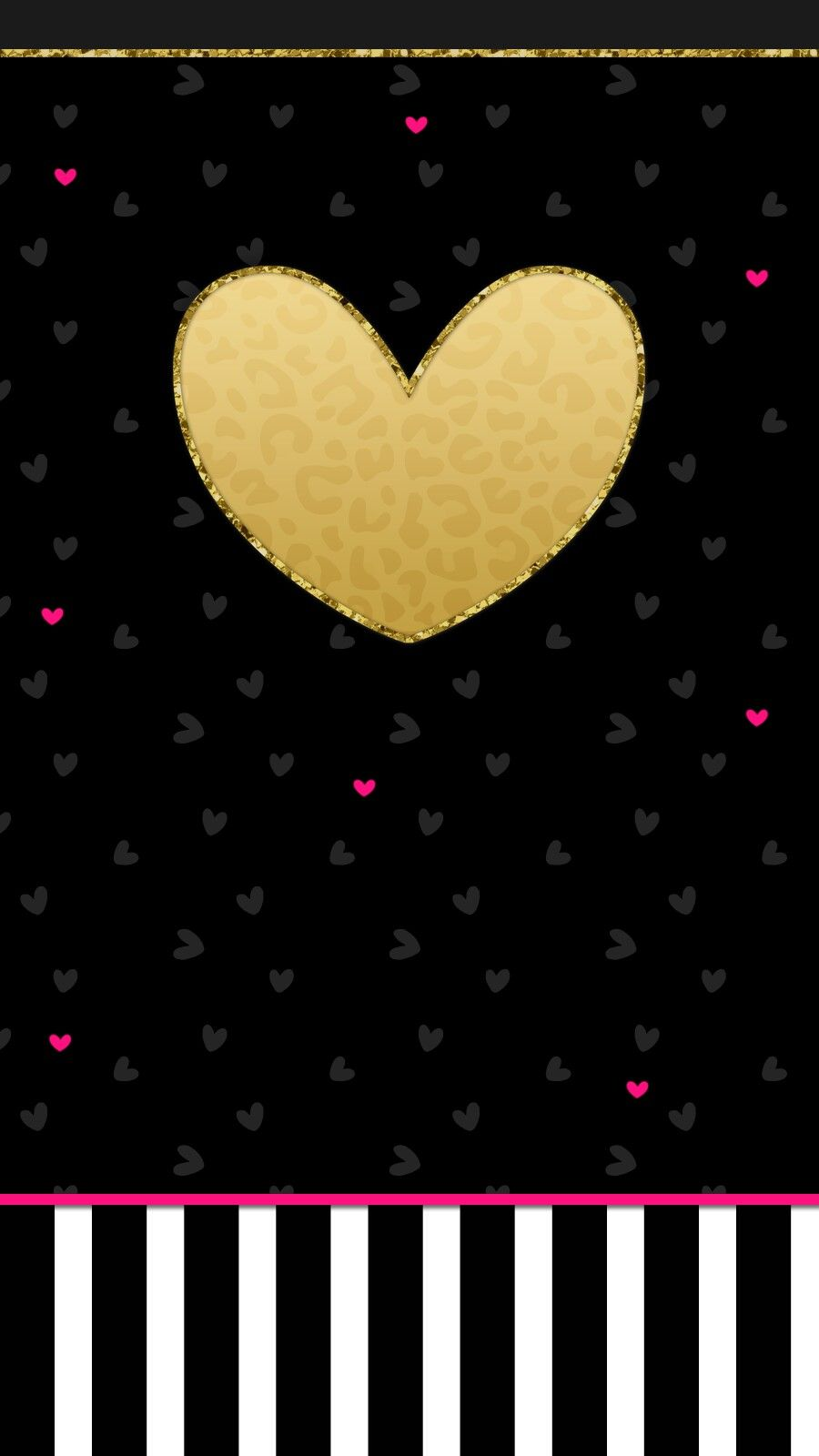 Valentine S Day Black Gold Pink Love Heart Wallpaper Iphone