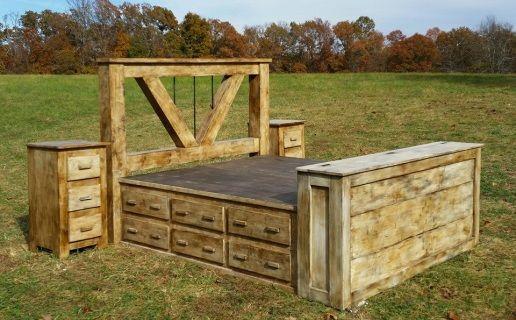 Deluxe Home Defense 5 Piece Platform Bed Set Rustic Furniture