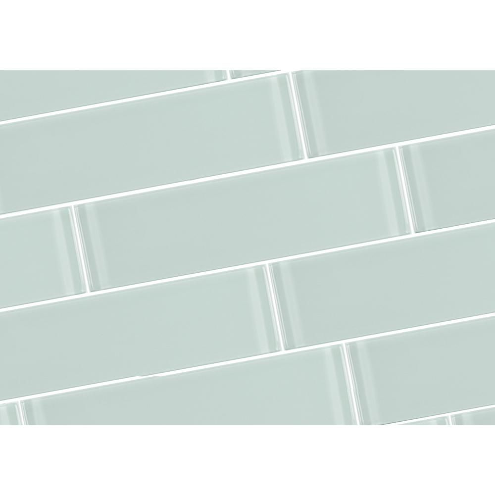 Abolos Metro Arctic Blue Green 3 In X 12 In Glass Subway Wall Tile 4 Piece Pack Hmdmet0312 Ar The Ho Glass Subway Tile Subway Tile Small Bathroom Decor