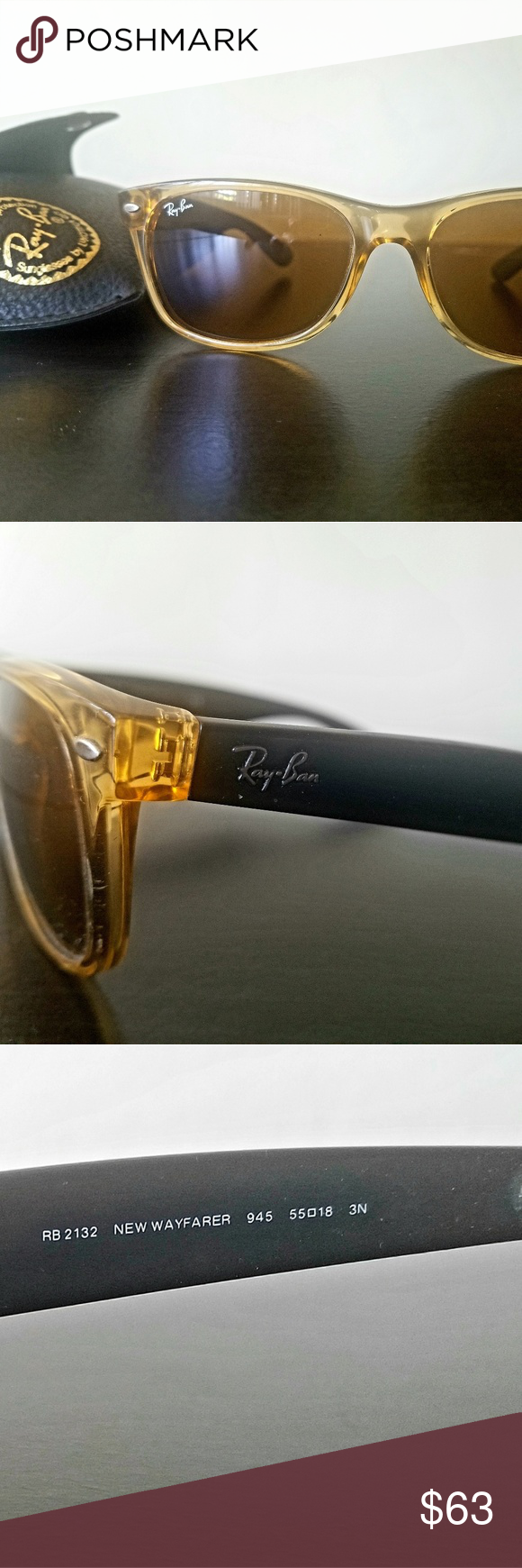 Ray-Bans New Wayfairers (RB 2132) with case Beautiful clear brown-rimmed Ray-Ban…