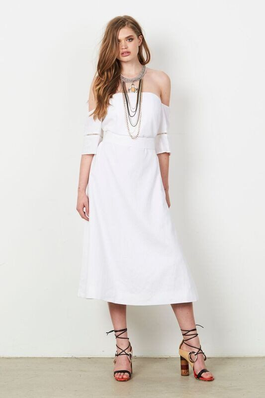 8a879e3d305 Stevie May Off Shoulder Bodice Midi Dress with waist tie White Midi Dress