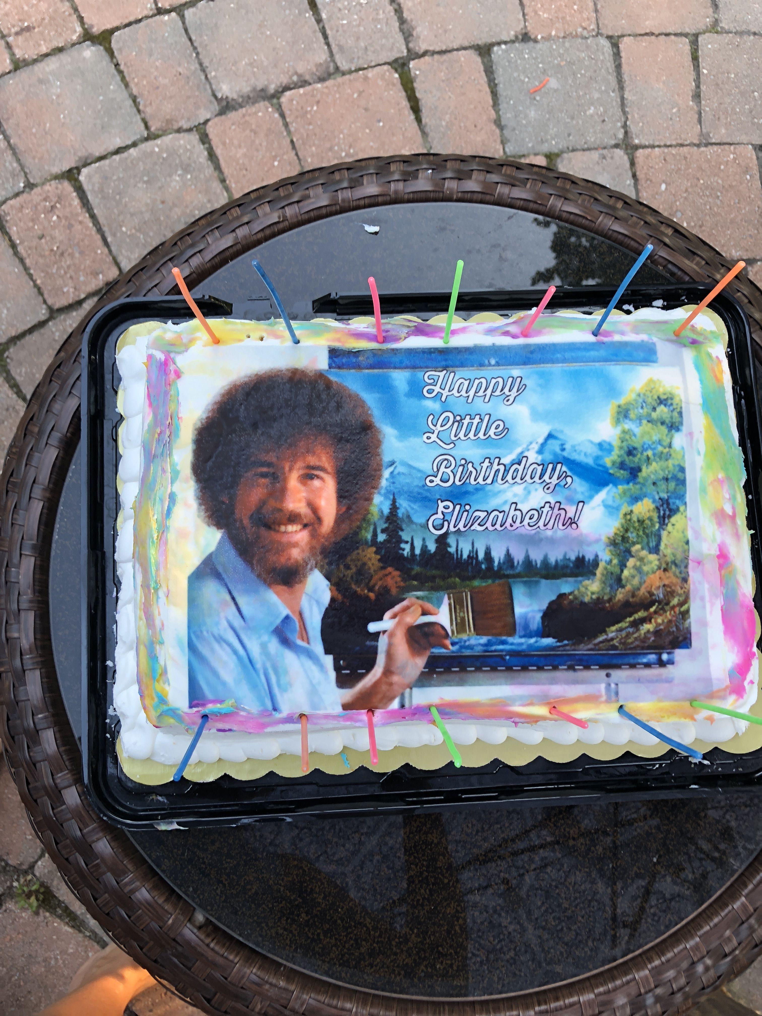 Daughter's birthday cake Bob ross birthday, Bob ross