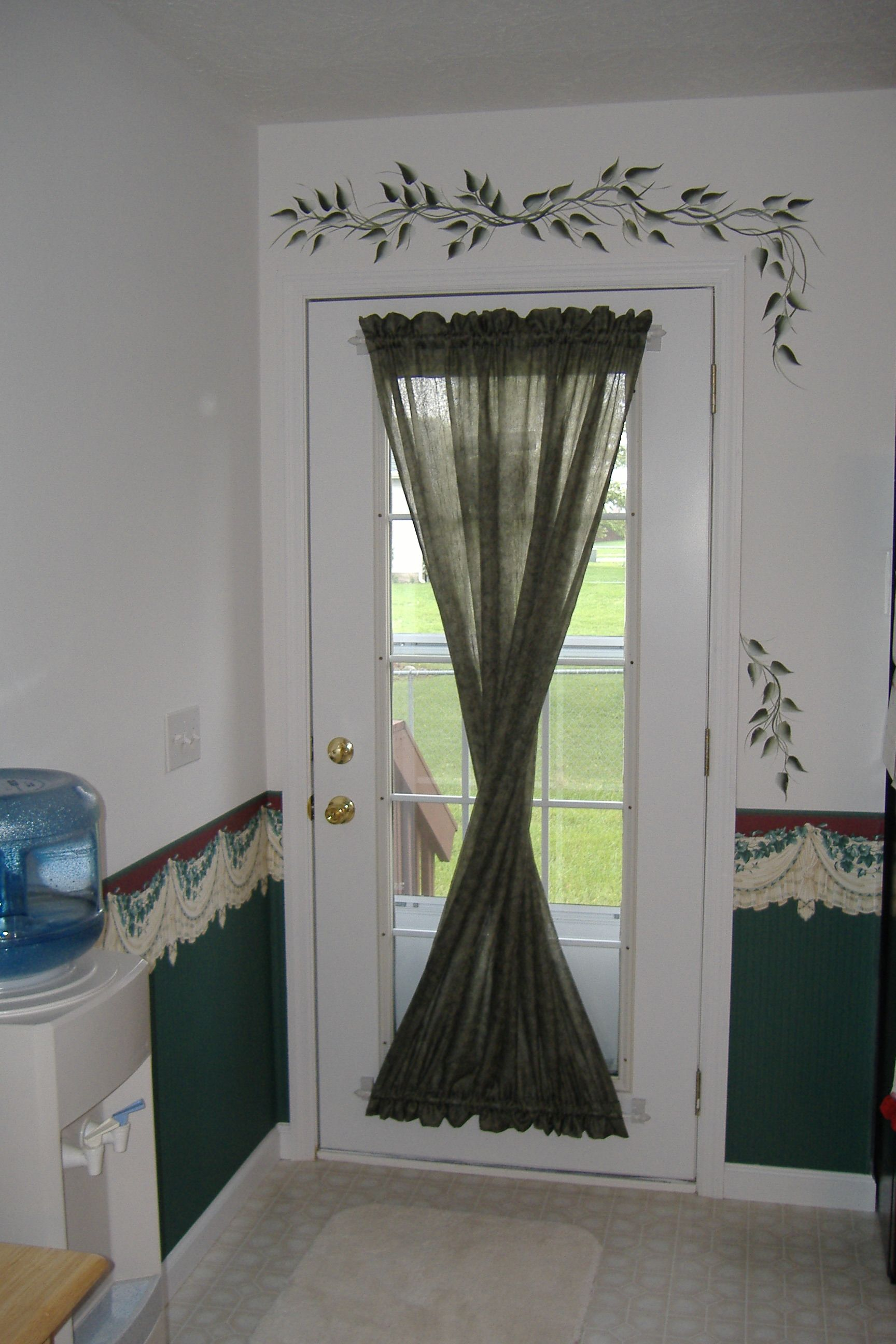 Window dressing ideas for arched windows  r family custom twist at back door with custom painting  centralus