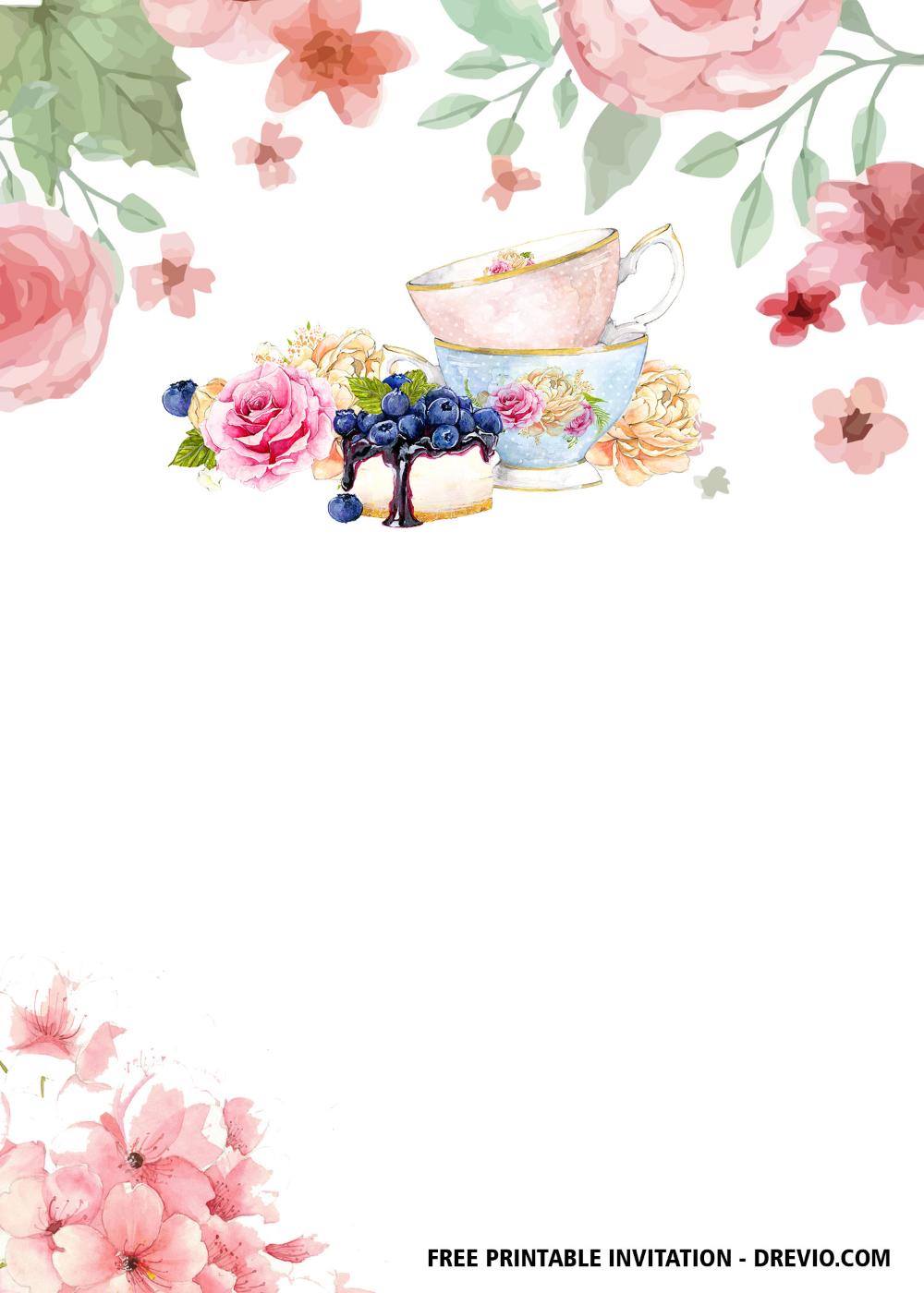 Free Floral Tea Party Invitation Templates Drevio In 2020 Tea Party Invitations Party Invite Template Tea Party