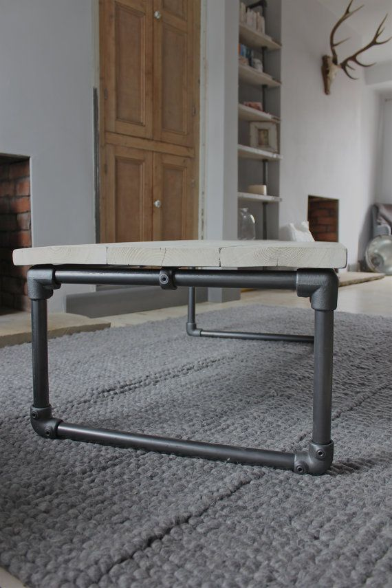 Casey White Washed Reclaimed Scaffolding Boards Coffee Table with ...