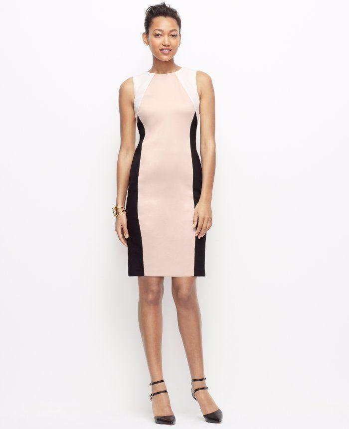 $129 Ann Taylor Black White Stretch Colorblock Ponte Sheath Dress 2 ...
