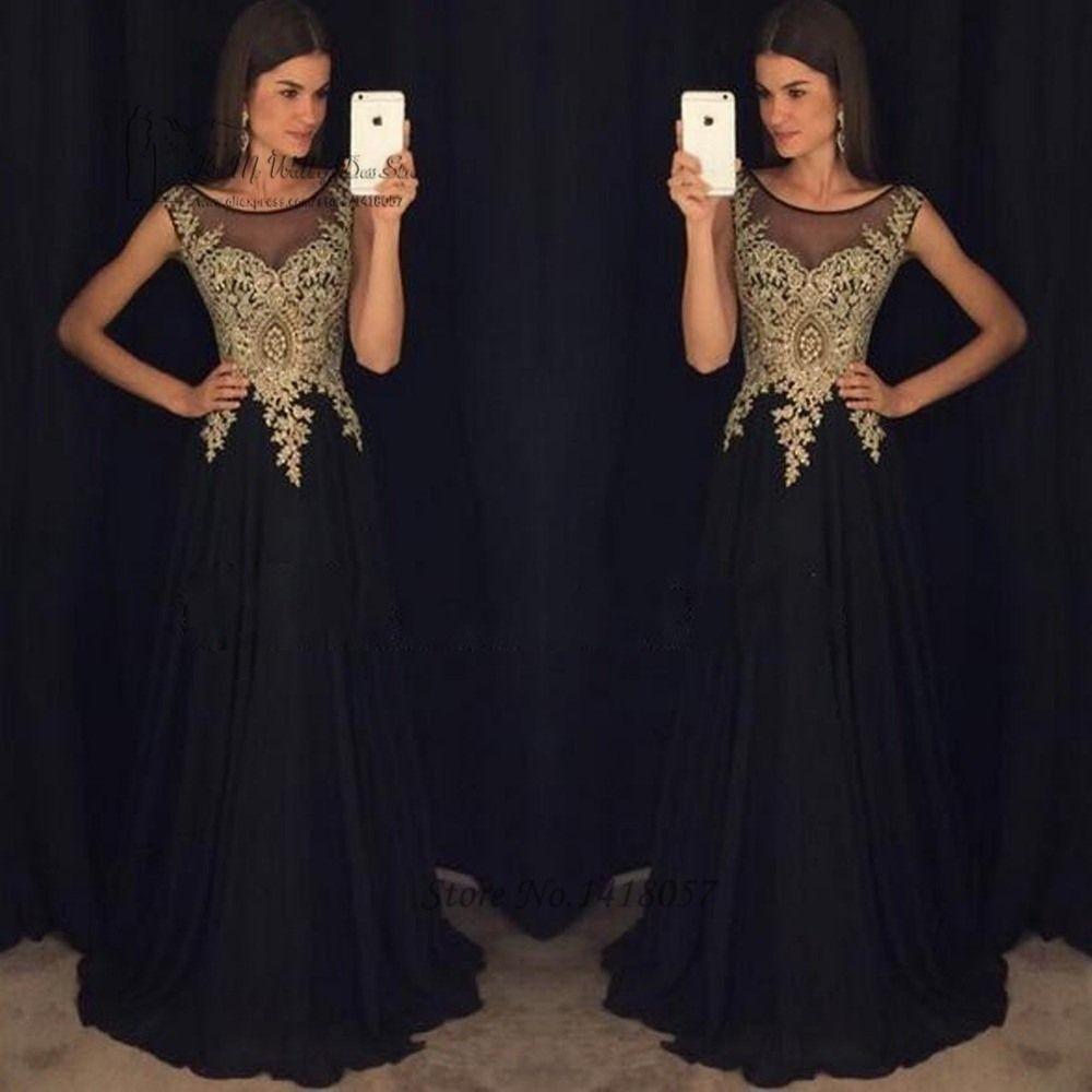 9 Luxus Abendkleid Lang Schwarz Gold für 9 in 9