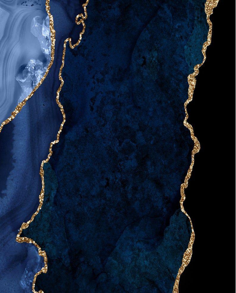 Navy Blue And Gold Glitter Geode Print Blue And Gold Print Geode Wall Print Agate Wall Decor Navy Blue And Gold Glitter Agate Stone Wall Art Blue And Gold Wallpaper Teal And Gold Stone Wall Art