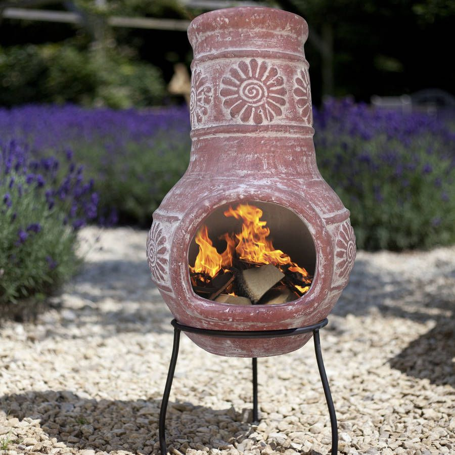Red Clay Chiminea Wood Burning Patio Heater