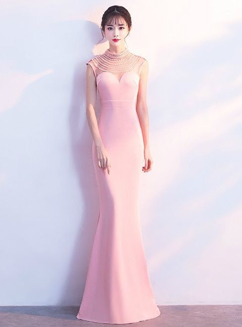 In Stock:Ship in 48 hours Pink Satin High Neck Mermaid Prom Dress ...