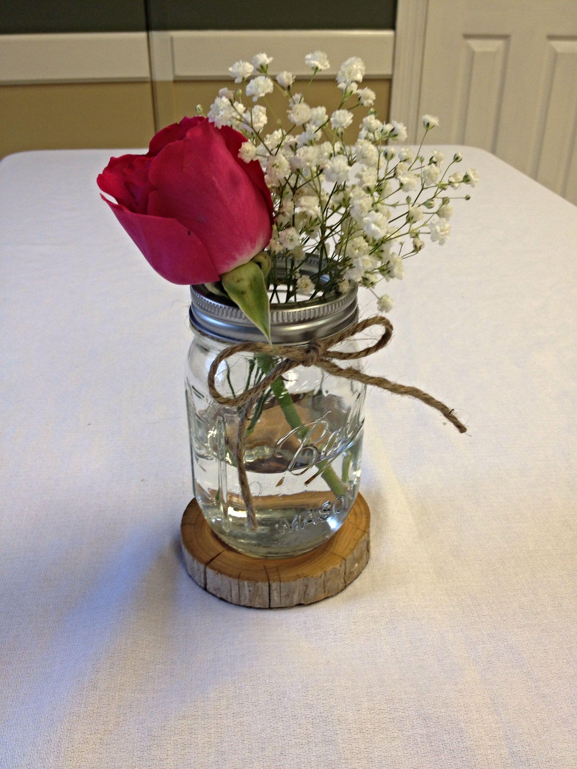Rose Babies Breath Mason Jar Cedar Coaster Red Roses Centerpieces Sunflower Wedding Centerpieces Mason Jar Centerpieces