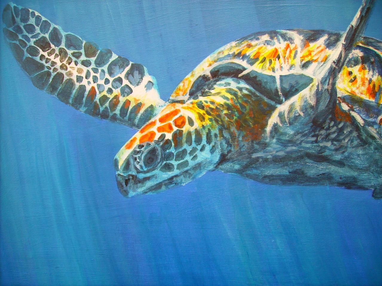 sea turtleart sea turtle painting underwater art
