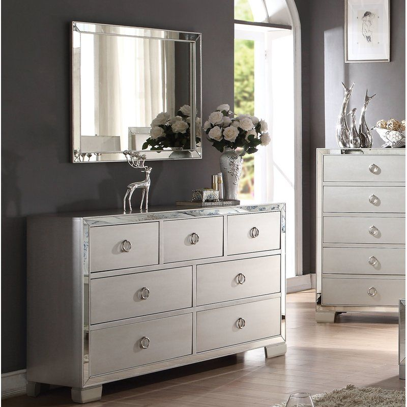 Isai 7 Drawer Double Dresser With Mirror Acme Furniture Dresser With Mirror 7 Drawer Dresser