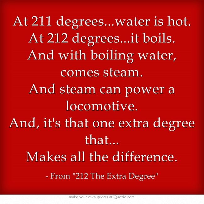 At 211 Degrees Water Is Hot At 212 Degrees It Boils And Uplifting Quotes Degree Quotes Inspirational Quotes