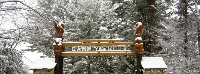 T. Dawson Brown Gateway in winter at Camp #Yawgoog. Image ...