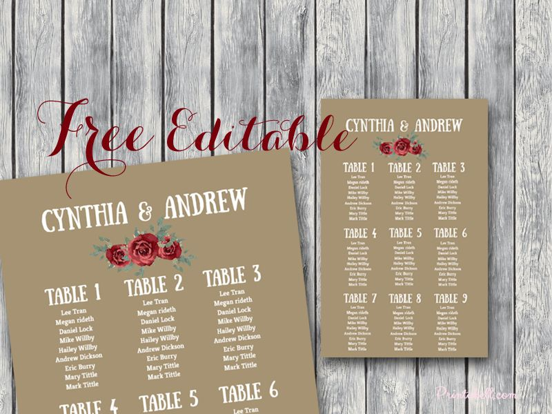 free-editable-marsala-wedding-seating-chart-template-printable - free wedding seating chart templates