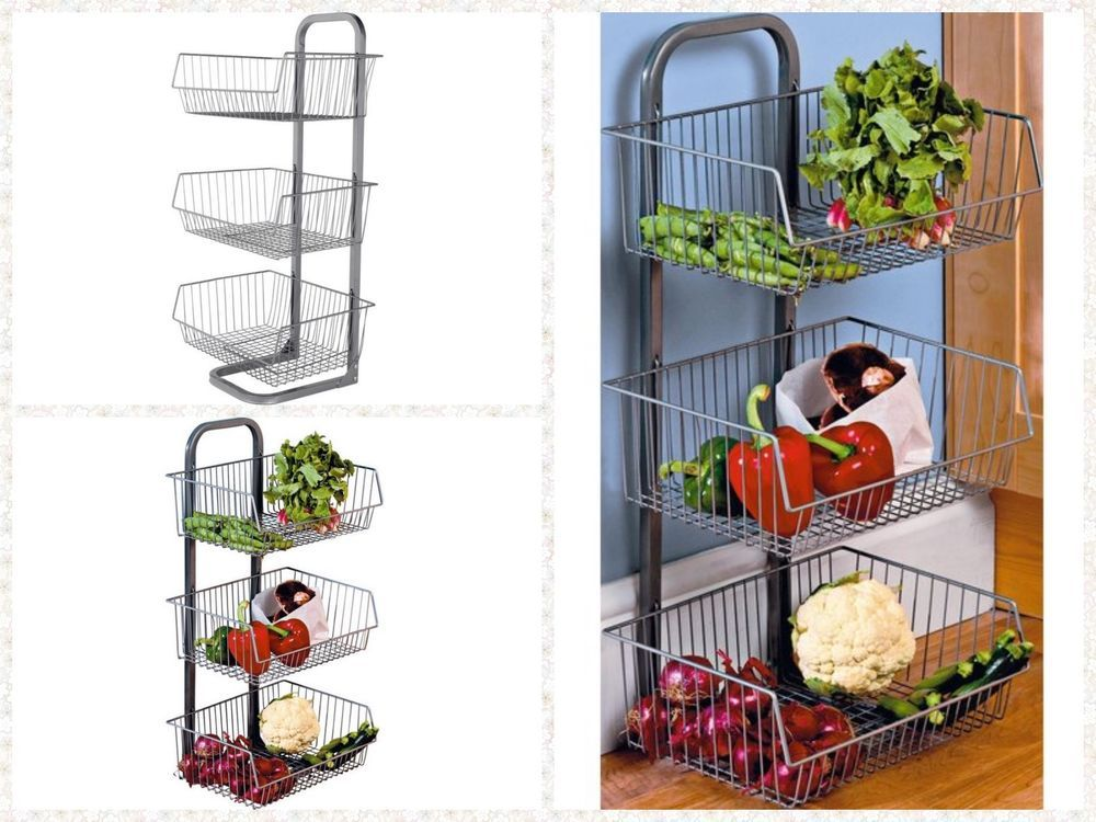 3 Tier Metal Vegetable Fruit Storage Rack Stand Basket Kitchen Pantry Shelf New Home Fruit Storage Pantry Shelf Kitchen Pantry