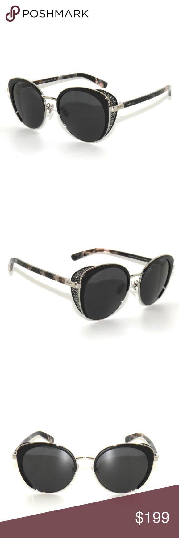 f5fdb5d356bd Jimmy Choo Gabby Strass 807IR Silver Sunglasses Jimmy Choo Gabby Strass  807IR Silver Black Sunglasses.Brand New and Authentic , Comes with Generic  ...